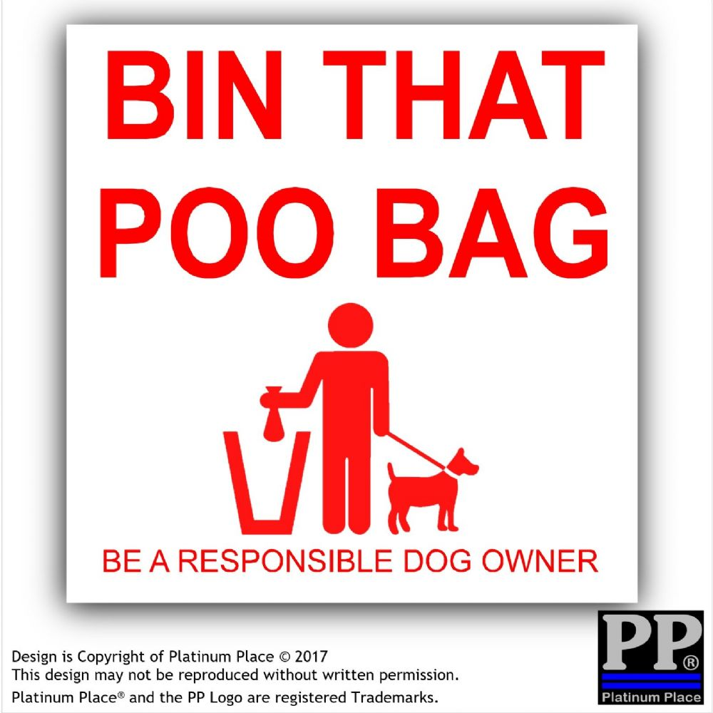 1 X Bin That Poo Bag Warning Stickers Poo Mess Dog Pet